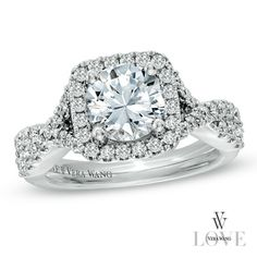 Vera Wang LOVE Collection 2-1/5 CT. T.W. Diamond Frame Engagement Ring in 14K White Gold - Zales