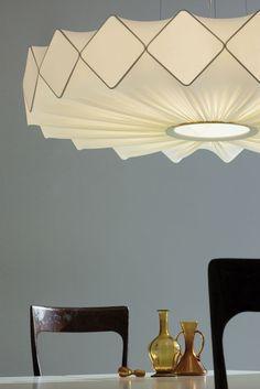 Fabric pendant lamp GRESY by Lucente 2013 - Suspension Deco Luminaire, Luminaire Design, Lamp Design, Cool Lighting, Lighting Design, Living Haus, Licht Box, Design Industrial, Deco Design