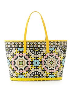 St. Tropez Mosaic-Print Coated Canvas Tote Bag by Oryany