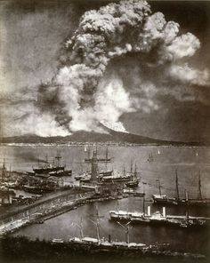 Vesuvius Erupting, April 26, 1872. Albumen Print. (Among the earliest dated natural disasters to be photographed; the sky was so dark that the entire scene was able to be captured on a single plate