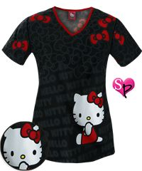 Cherokee Tooniforms Hello Kitty Red Bow Print Scrub Top Style #  CK775HKC