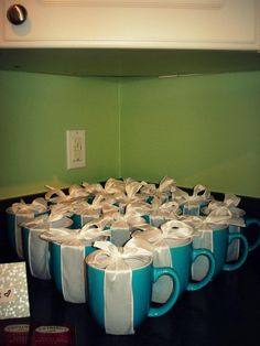 Tiffany OFF! Wrapped Tiffany blue coffee cups for a Breakfast at Tiffanys themed bridal shower. Tiffany Theme, Tiffany Party, Tiffany Wedding, Tiffany Blue, Bridal Shower Prizes, My Bridal Shower, Bridal Brunch Favors, Party Favors, Breakfast At Tiffanys Party Ideas