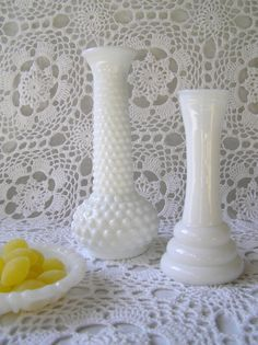 Pair of Milkglass Hobnail Vases DIY Wedding by sugarshopvintage, $10.00