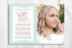Boy or Girl Baptism Invitation LDS printable by PicadillyLime - modern typography