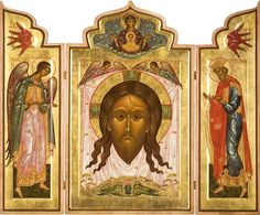 Acheiropoieton, not made by hands Byzantine Icons, Byzantine Art, Religious Icons, Religious Art, Catholic Altar, Paint Icon, Russian Icons, Russian Painting, Biblical Art