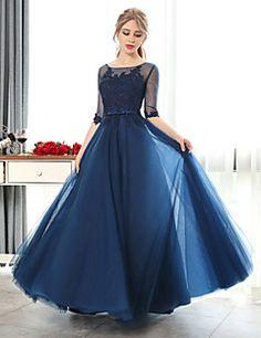 Vestido-Rosado / Rubi / Bordô / Azul Royal / Azul Marinho / Preto / Azul Céu Evento Formal A-Line Decote em U Longo Renda / Tule