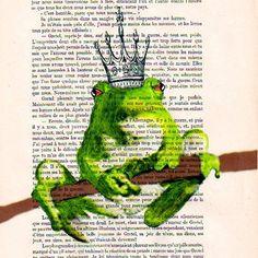 $12 Prince Frog- ORIGINAL ARTWORK Hand Painted Mixed Media on 1920 Parisien Magazine 'La Petit Illustration'