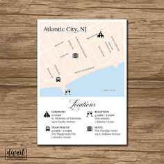 Custom Wedding Map, Event Map, Directions, Locations - PRINTABLE file - Enclosure Card, Invitation Insert with a map by DIVart on Etsy