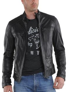 a89f7253439 Genuine Leather Jackets for Men Amazon Best Seller – Lambskin Leather,  Motorcycle Biker Jacket KL724