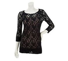 Embrace the lace with this Edge by Jen Rade Allover Lace Long Sleeve Top with Cami #QVCRedCarpet