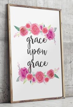 Grace Upon Grace Nursery Bible verses wall by TwoBrushesDesigns #nurserydecor