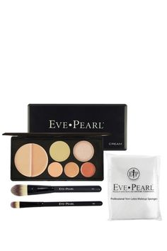 Flawless Face Cream Palette 4-Piece Kit - Medium  by Eve Pearl..Achieve your look with Eve Pearl's universally flattering shades by starting with their HD Dual Foundation. Whether you prefer a matte or luminous finish the palette offers 1 Mattifier & 1 Illuminator. 2 Salmon Concealers for under eye circles & 1 cream blush. For your convenience they've included the Foundation & Concealer brush. With the tapered bristles application is immaculate.Also includes 8 Pro Makeup sponges