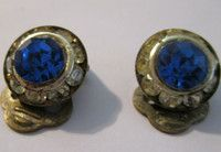 New Listing Started Vintage silvertone clip on earrings deep blue centre stone with diamantes £1.85