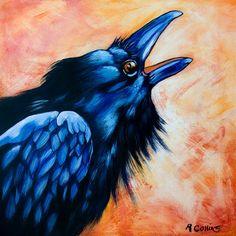 Call of the Raven Bird series 8x8 fine art by RoseCollinsArtist, $18.00
