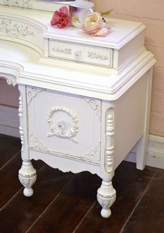 Chabby Chic Corner Makeup Vanity | Shabby Cottage Chic White Rose Vanity Makeup Table French Vintage ...