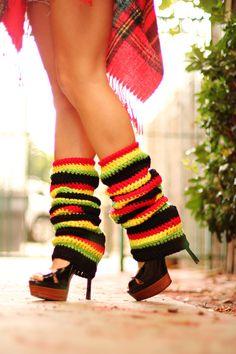 Rasta Leg Warmers Jamaica Stripes by by mademoisellemermaid Crochet Leg Warmers, Baby Leg Warmers, Rasta Dress, Rasta Colors, Cool Outfits, Casual Outfits, Black Stripes, Diy Clothes, Casual Looks