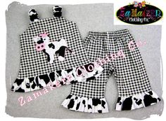 Girl Farm Birthday Custom Boutique Clothing Cow Jumper Aline Top Ruffle Pant Outfit Set 3 6 9 12 18 24 month size 2T 2 3T 3 4T 4 5T 5 6 7 8. $51.99, via Etsy.