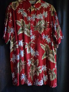 Vintage shirt Hawaiian man's maroon by vintagewayoflife on Etsy