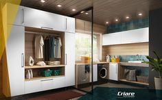 Uma lavanderia precisa além de muita praticidade de um toque de estilo! Que tal esta com madeirado Brrandy e puxadores Modena?