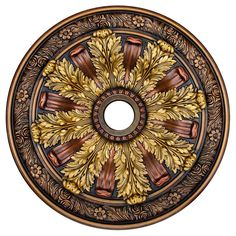 Fine Art Deco Sunshine Illusion, Bronze, Gold, Copper 30 in. Polyurethane Hand Painted Ceiling Medallion