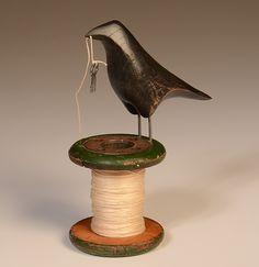 Raven on Vintage Industrial Spool: Mark Orr: Ceramic & Wood Sculpture -  240.