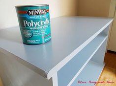 How to Paint Laminate Furniture - sand, Kilz Latex Primer, paint, Minwax Polycrylic Protective Finish