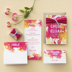 wedding paper divas blooming together wedding invitation suite watercolor theme invites purple pink fuchsia yellow orange kraft
