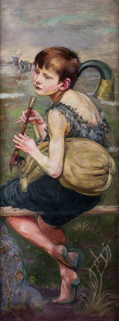 WLASTIMIL HOFMAN (1881 - 1970)  MUZYKANT, OK. 1910   olej, płótno / 165 x 46 cm  niesygn.
