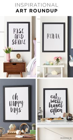 """Everyone can use a little inspiration. Add some positive thinking to every room of the house. Featured product includes: Americanflat """"rise and shine,"""" """"relax 2,"""" """"oh happy days"""" and """"eat well travel often"""" framed wall art. Refresh your home in style with Kohl's."""