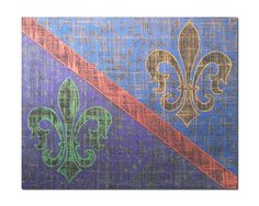 Fleur de Lis parti colored in Mardi Gras colors by FischerFineArts, $18.00