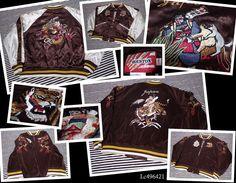 SUKAJAN Reversible velour satin bomber jacket (japanese L ) HOUSTON Tiger Dragon #HOUSTON #FlightBomber