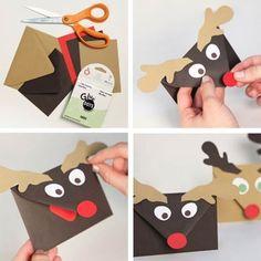 Creative Ideas - DIY Cute Rudolph Reindeer Envelopes | iCreativeIdeas.com Follow Us on Facebook --> https://www.facebook.com/iCreativeIdeas
