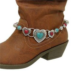 NEW CUTE WESTERN COWGIRL TURQUOISE RED HEART ANKLET BOOT JEWELRY STRAP