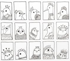 Bird 216 - third row of bird doodles added. By JG
