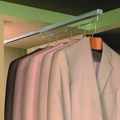 Slide Out Wardrobe Hanging Rail - 290mm - Full Extension | IronmongeryDirect