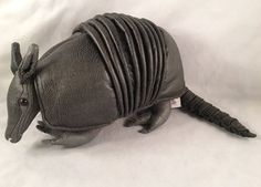 "GUND RARE & RETIRED ""Chinook"" Faux Leather Armadillo Plush Stuffed Animal #12019 #armadillo #plush #stuffed #animal #leather #faux #rare #retired #chinook #gund"