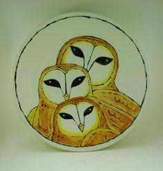 Barn owl family ceramic platter by Keith Lehman of the Poplar Studio. Owl Family, Platter, Barn, Ceramics, Studio, Design, Ceramica, Converted Barn, Pottery