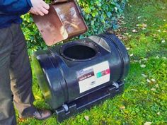 Large 200 litre rotating composter or compost tumbler. The bin lies on castor wheels and can be turned by hand, mixing the compost within.  #compost #raised bed #allotment #gardenersofinstagram  #montydon #gardener #gardenersworld #organic #gardening #planter #container #growyourown  #composter