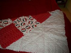Penguin flannel rag blanket by Songinmyheartcrafts on Etsy