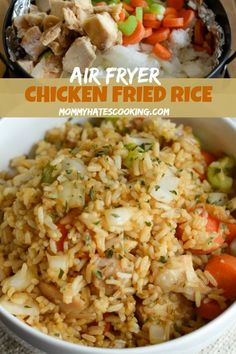This Air Fryer Chicken Fried Rice is GLUTEN FREE! YAYA Thank you and for sharing! I know what I'm having for dinner tonight! Make this delicious Gluten Free Air Fryer Chicken Fried Rice in just 10 minutes! Air Fryer Recipes Potatoes, Air Fryer Oven Recipes, Air Frier Recipes, Air Fryer Dinner Recipes, Air Fryer Chicken Recipes, Air Fryer Recipes Gluten Free, Air Fryer Recipes Vegetables, Sauce Pizza, Cooks Air Fryer