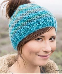 Knitting Pattern for Messy Bun Hat - This easy ponytail hat was designed to look great in multi-colored yarn. 4 sizes from Teen to Adult XL. by Pat Wetmore Messy Bun Knitted Hat, Ponytail Hat Knitting Pattern, Beanie Pattern, Loom Knitting, Knitting Patterns Free, Free Knitting, Knitted Hats, Hat Patterns, Messy Bun Hats