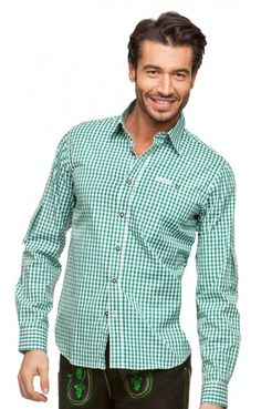 Chequered oktoberfest shirt for men Campos2 dark green