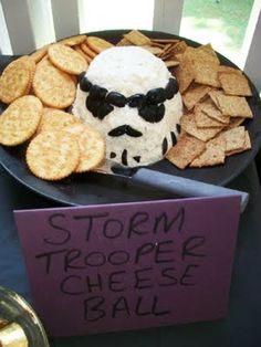 Cheese ball with olives make a super Storm Trooper!