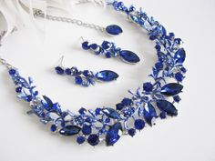 Items similar to Sparkle Statement Wedding Necklace Great Bridal Wedding Jewelry Pageant Jewelry Bridal Statement Necklace Set, Vintage Style on Etsy Sapphire Necklace, Blue Earrings, Necklace Set, Hair Jewelry, Wedding Jewelry, Wedding Accessories, Jewelry Accessories, Bling Wedding, Turquoise Jewelry