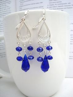 Cobalt or Royal Blue Faceted Teardrop Chandelier by tocijewelry, $19.00