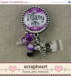 RN PERSONALIZED Name Badge Reel or Pull, Caduceus, Purple Damask, Nurse Practitioner, Hospital Staff, Nursing, ID Clip, Graduation by ScrapheartGifts on Etsy (null)