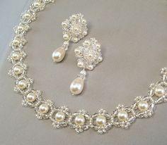 Wedding Necklace and Earring Set Backdrop by BridalDiamantes, $175.00