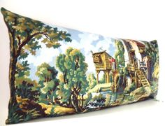 Huge French Needlepoint Pastoral Mill Countryside by Retrocollects £70 https://www.etsy.com/shop/Retrocollects