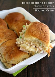 Baked Jalapeño Popper Chicken Sliders are an easy appetizer you can prep ahead of time and bake when ready for a bite that will make the crowd go wild!