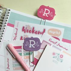Monogram Planner Clips | Personalized Planner Clips | Leaf Letter | Available in 4 Colors | Planner Clip | Paper Clips for Planners